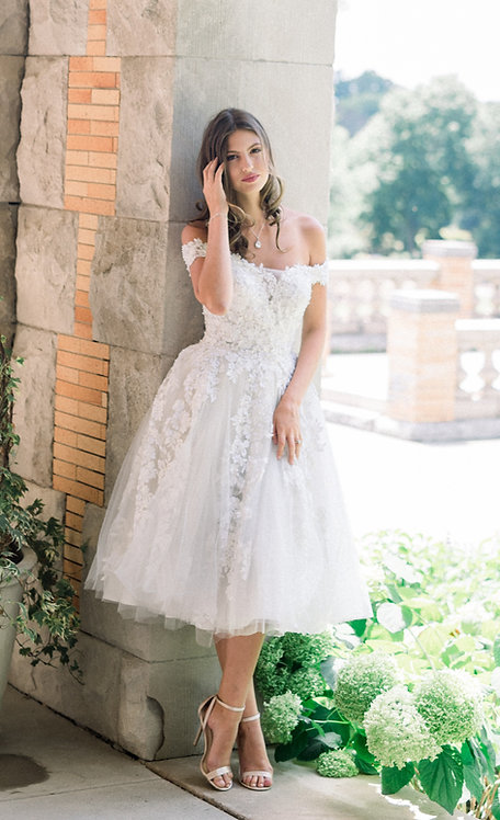 Short Beaded Tulle Gown