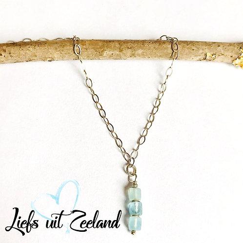 zilveren ketting met hanger aquamarijn