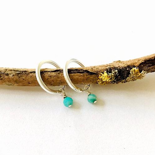 zilveren oorbellen met edelsteen amazoniet