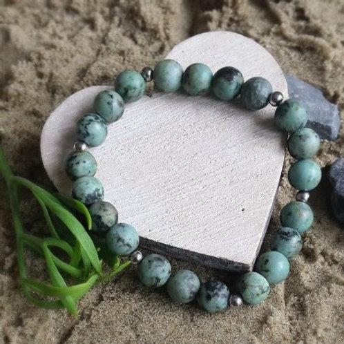 natuurstenen armband met kralen van afrikaans turquoise steen