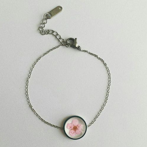 RVS armband met bloemenbedel