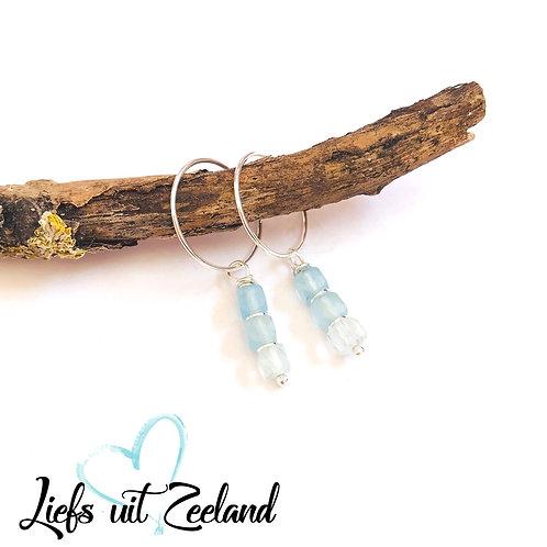zilveren oorbellen met edelsteen aquamarijn