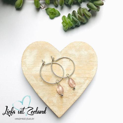 zilveren oorbellen met roze toermalijn