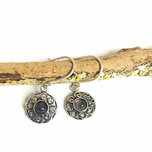 zilveren oorbellen met edelsteen amethist