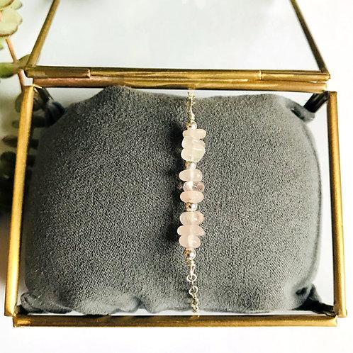 zilveren armbandje met rozenkwarts