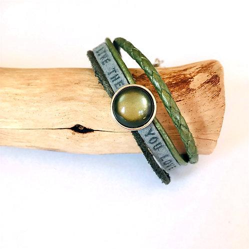 leren armband met rvs sluiting