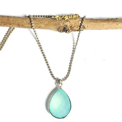zilveren ketting met edelstenen hanger aqua chalcedoon