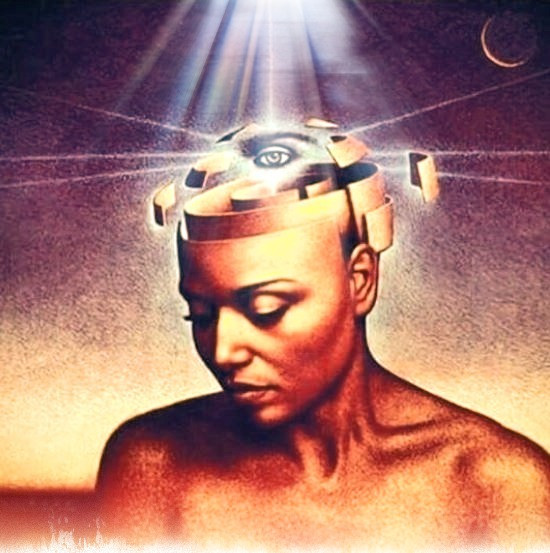 Book cover art by John Jude Palencar (Mind of My Mind - by Octavia E Butler) of Black woman with third eye.