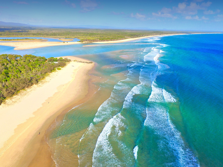 Noosa River Mouth Stock Aerial Photo