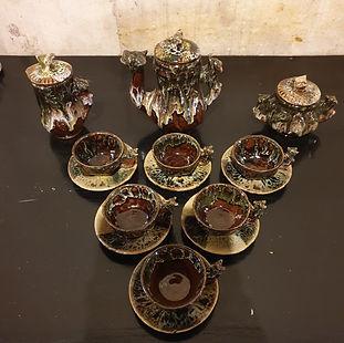 crazy ceramic hand crafted tea service