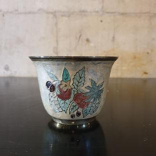 enamelled brass small pot