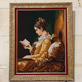 french embroidery in guilded frame