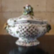 ceramic woven lidded bowl