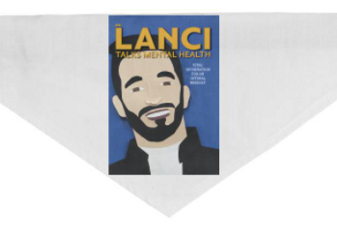 """Mr. Lanci Talks Mental Health"" Dog Bandana- Medium"