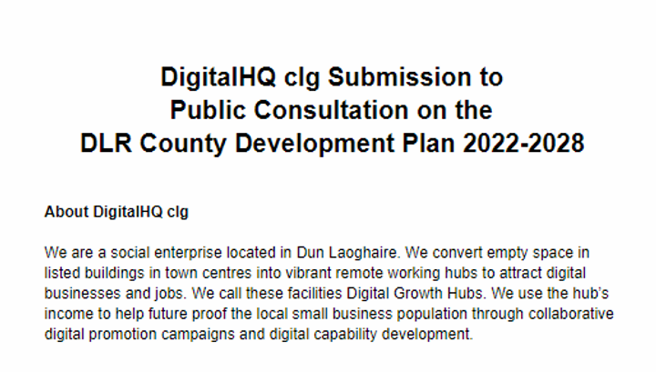 DigitalHQ clg Submission to the Public Consultation on the DLR County Development Plan 2022-2028