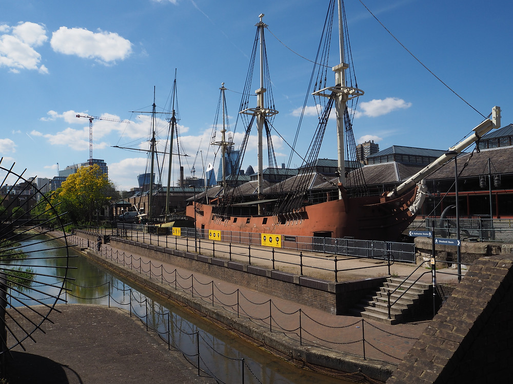 Replica ships on Tobacco dock