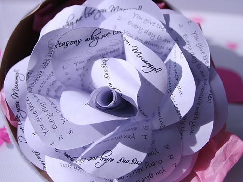 """""""5 Reasons Why We love You Mummy"""" Paper Rose"""