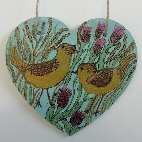 Machair Flower Heart with Birds (15cmx13.5cm)