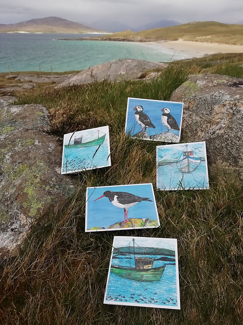 Hebridean Birds & Boats - 5 Pack Greeting Cards