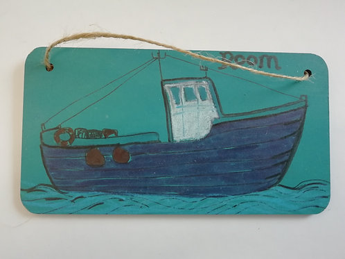 Customised Name Plate - Blue Boat