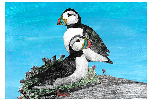 Puffins - Giclée Print by Marigold Williams