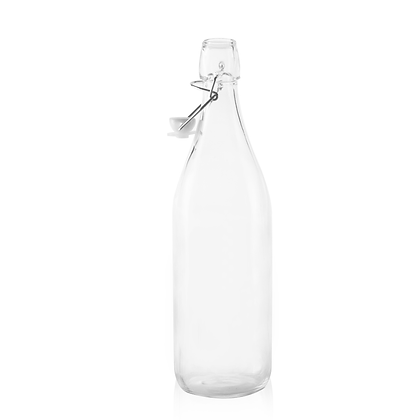 Wire Lid Square Glass Carafe Water Bottles 34 oz.