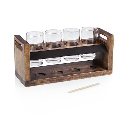 Craft Beer Flight Beverage Sampler, (Acacia Wood)