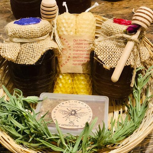 Beautiful Artisan Bee Basket  Rose , Lavender Honey , Honeycomb