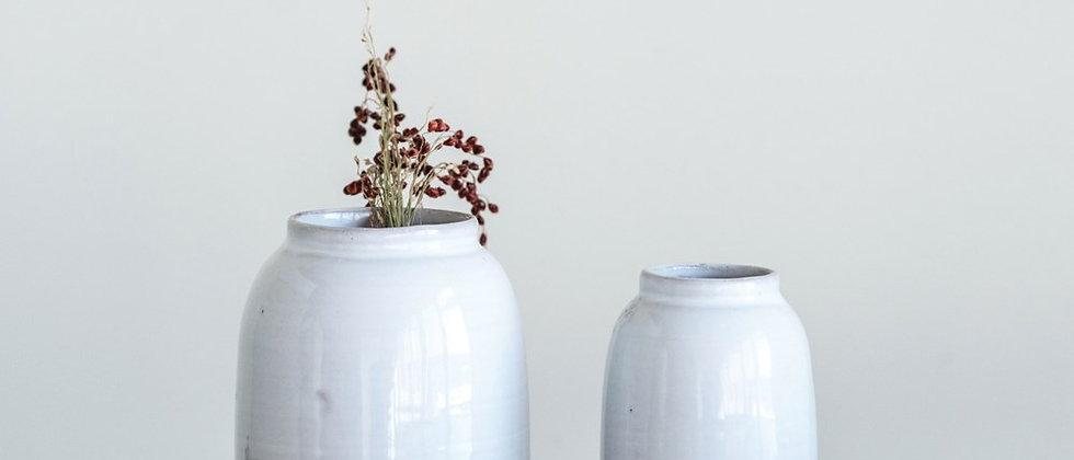 White Terra Cotta Vase, Set of 2
