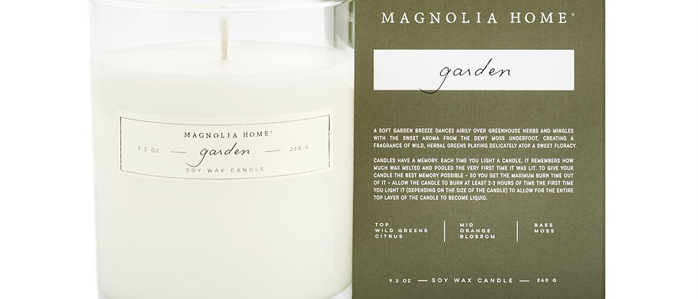 Magnolia Home Garden Boxed Glass Candle
