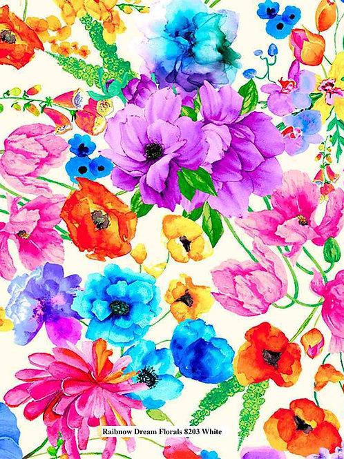 Rainbow Dream Florals on White