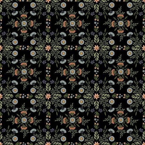 Floral Squares on Black