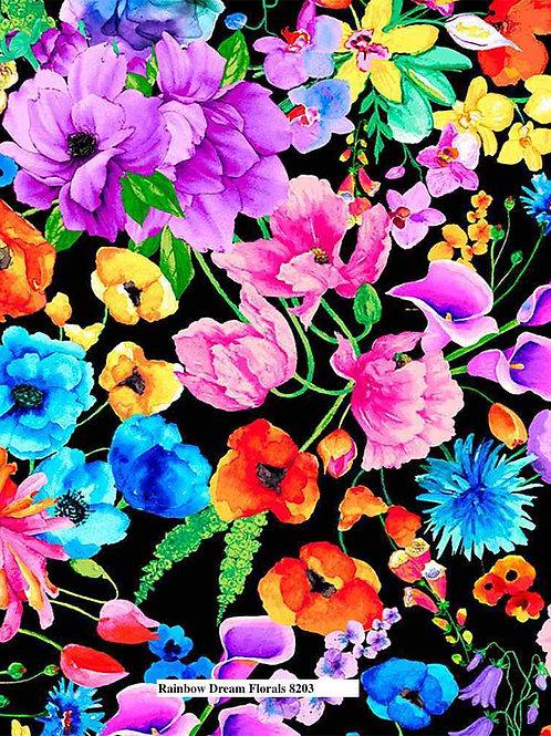 Rainbow Dream Florals on Black