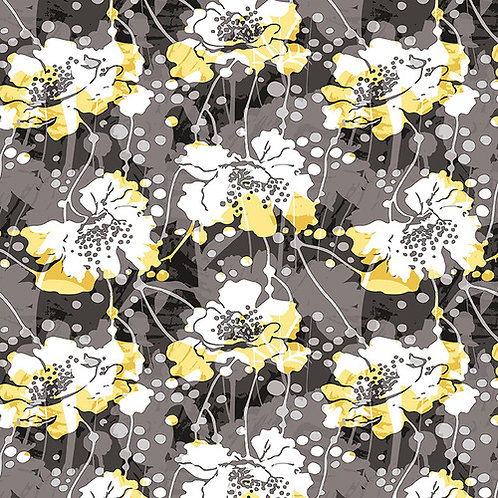 Large Modern  Floral White Yellow