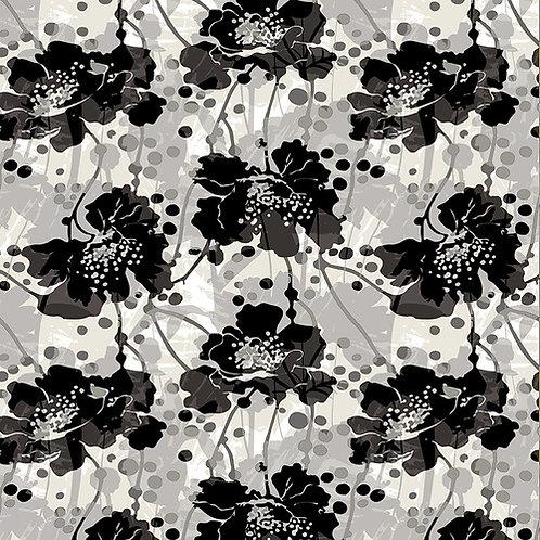 Large Modern  Floral Black