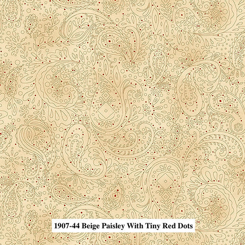 Beige Paisley with Tiny Red Dots