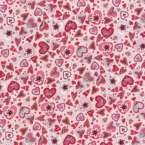 Doodle Hearts Coral