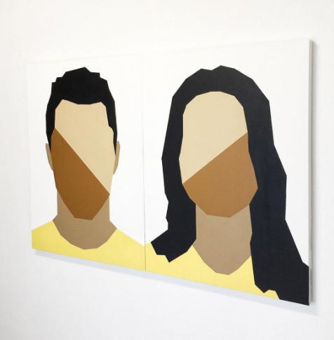 Díptico José & Maria 120x80cm Spray sobre tela 2020