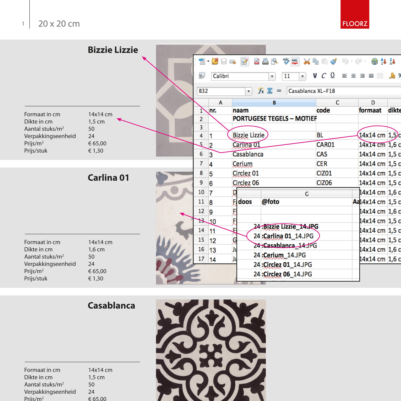 Data koppeling vanuit Excel, Brochure - Floorz