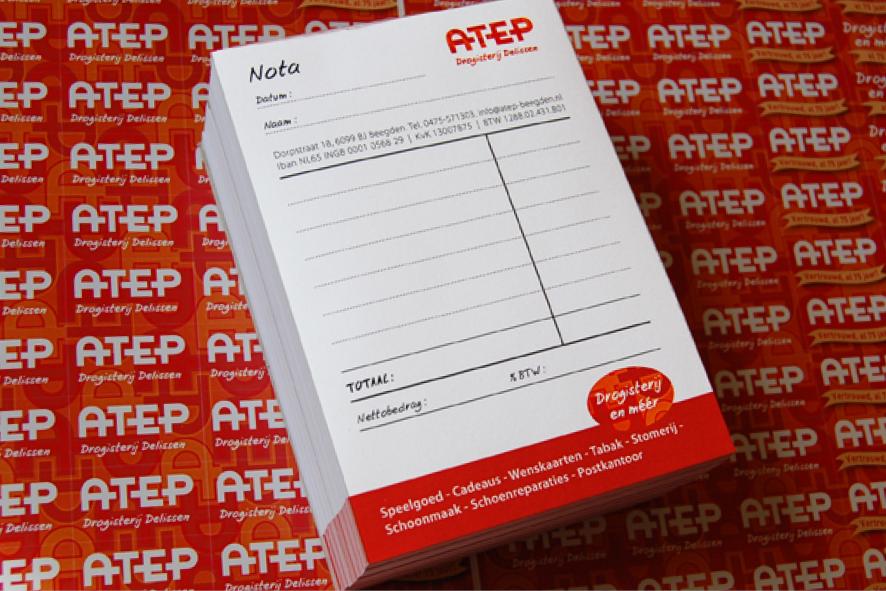 Nota en sticker - Atep Drogisterij