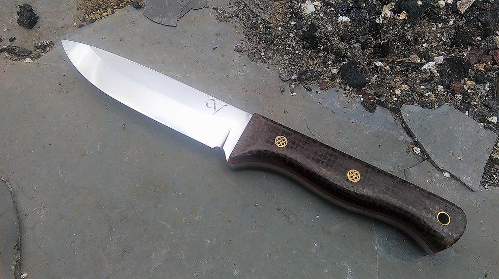 Bushcraft Knife with Hessian Micarta Handle