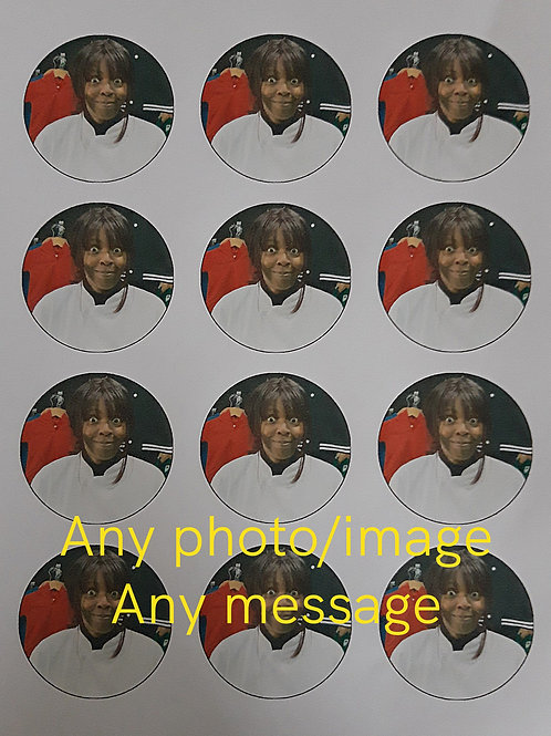 12 Personalised Edible Cupcake Toppers Icing Sheets