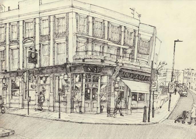 'The Grafton', 29x21cm, Pen on Paper, 20