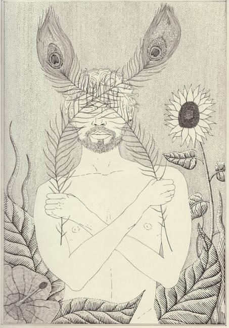 self portrait - pen on A4 sketchbook pag