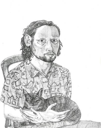 Self Portrait with Cat', 39x29.7cm, pen