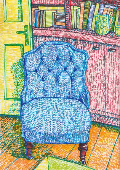 Blue Chair_21x29.7cm_FeltTipPensOnPaper.