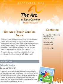 The Arc of South Carolina September 2016 Newsletter