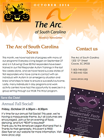 The Arc of South Carolina October 2016 Newsletter