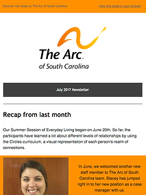 The Arcof South Carolina July 2017 Newsleter
