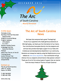 The Arc of South Carolina Decmber 2016 Newsleter